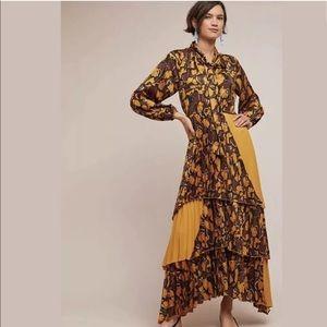 NWOT Anthropologie Beatrice B. Marigold Maxi Dress